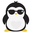 cool penguin on white background vector image vector image