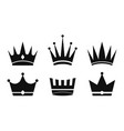 crown icon silhouette crowns queens kings set vector image