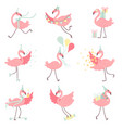 cute pink flamingos in party hats set beautiful vector image vector image
