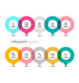 data flow with app icons on circles infographic vector image vector image
