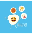 delicious and nutritive breakfast character vector image vector image