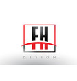 fh f h logo letters with red and black colors and vector image vector image