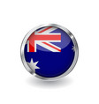 flag of australia button with metal frame and vector image