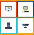 flat icon laptop set of processor computer pc vector image vector image