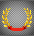 golden laurel wreath with a red ribbon vector image vector image