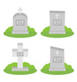 grey gravestone with cross on green grass flat vector image vector image
