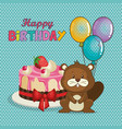 happy birthday card with cute beaver vector image