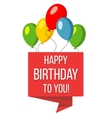 Happy birthday red banner and baloons vector image