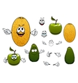 Happy melon avocado and apple fruits vector image vector image