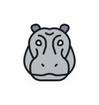 hippo glyph river-horse hippopotamus flat vector image