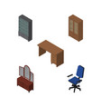 isometric furnishing set of drawer office table vector image vector image
