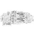 java goes open source text background word cloud vector image vector image