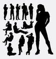 Male and female people with mobile phone silhouett vector image vector image