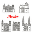 mexican travel landmark icon with catholic church vector image vector image