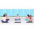 mix race women sitting lotus pose girls doing yoga vector image