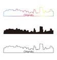 Orlando skyline linear style with rainbow vector image vector image