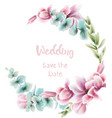 pink floral wreath watercolor blue leaves vector image vector image