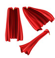 red superhero cape cloak with golden pin vector image vector image
