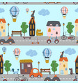 seamless pattern with city streets dogs