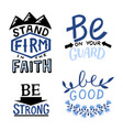 set 4 hand lettering christian quotes stand vector image vector image