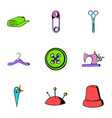 sewing clothes icons set cartoon style vector image vector image