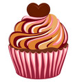 sweet tasty sugar cupcake poster heart topping vector image