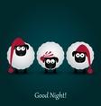 Three cute cartoon sheeps in hats Good night vector image vector image
