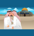 two muslim men embracing each other vector image
