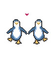 two penguins in love cute pixel penguins 8 bit vector image vector image