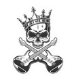 vintage monochrome rocker skull in crown vector image vector image