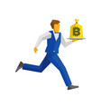 waiter in blue runs with a bitcoin bag on a tray vector image vector image