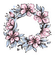 wreath of flowers in hand drawn ink with white vector image