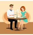 Young man and woman using a tablets pc in the vector image vector image