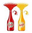 Bottles of ketchup and mustard vector image