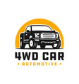 4wd pick up car logo vector image