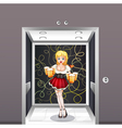 A waitress at the elevator vector image