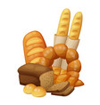 bakery bread buns croissant loaf vector image vector image
