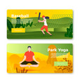 banners - cricket player girl and yoga man vector image