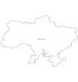 Black White Ukraine Outline Map vector image vector image