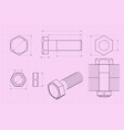 bolt technical drawing on pink draft paper vector image vector image