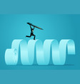 businessman running on paper scroll holding vector image vector image
