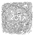 Cartoon cute doodles hand drawn New Year vector image vector image