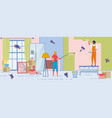 cheerful new dwellers repair house and paint wall vector image