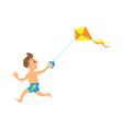 child playing kite on beach running kid vector image vector image