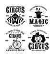 circus show set four monochrome emblems vector image