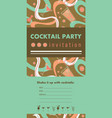 cocktail party vertical invitation card template vector image vector image