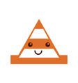cone construction kawaii character vector image