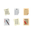 contract paper icon set flat style vector image
