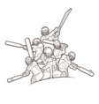 cricket players action cartoon sport graphic vector image vector image