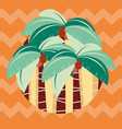 cute cartoon vibrant abstract palm tree plantation vector image vector image